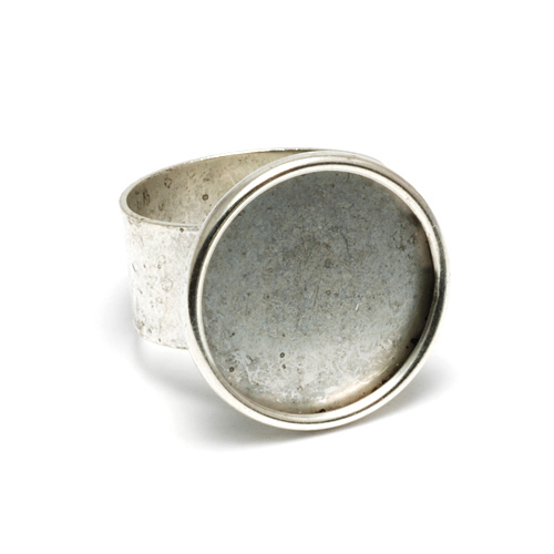 "Enamel, Patina & Resin Plated Silver Adjustable Ring with 11/16"" (17.5mm) ID Bezel"