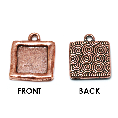 Enamel & Mixed Media Plated Copper Square Bezel (Plain Front/Spiral Back)