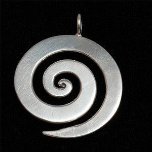"Metal Stamping Blanks Sterling Silver Large Spiral Pendant 1 1/8"" (28.5mm)"