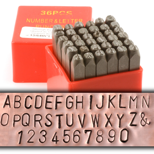 "Metal Stamping Tools Economy Block Uppercase Letter & Number Stamp Set 13/64"" (5.2mm)"