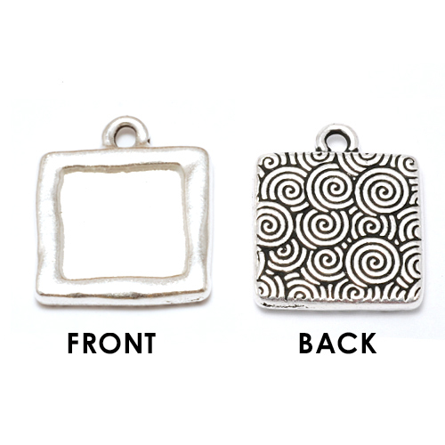 Enamel, Patina & Resin Plated Silver Square Bezel (Plain Front/Spiral Back)