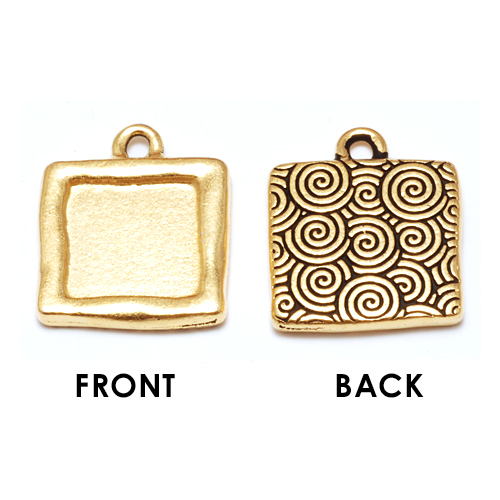 Enamel & Mixed Media Plated Gold Square Bezel (Plain Front/Spiral Back)