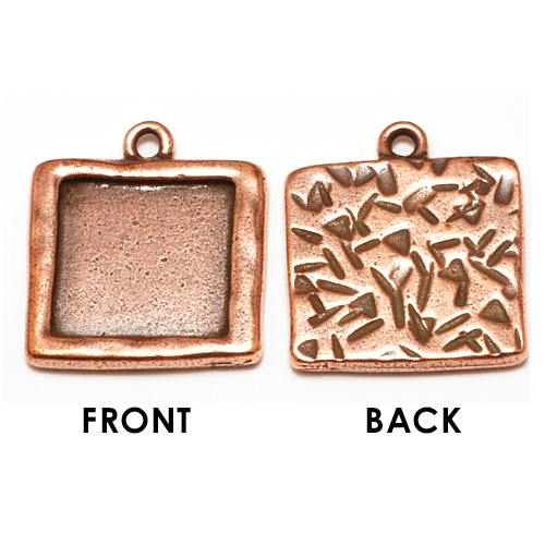 Enamel & Mixed Media Plated Copper LARGE Square Bezel