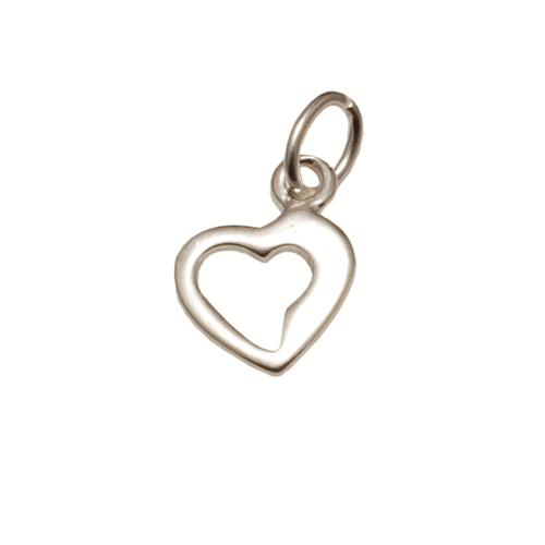 Charms & Solderable Accents Sterling Silver Tiny Open Heart Charm with Jump Ring