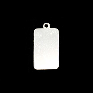"Metal Stamping Blanks Sterling Silver Rectangle with Top Loop, 18mm (.71"") x 10.5mm (.41""), 24g"