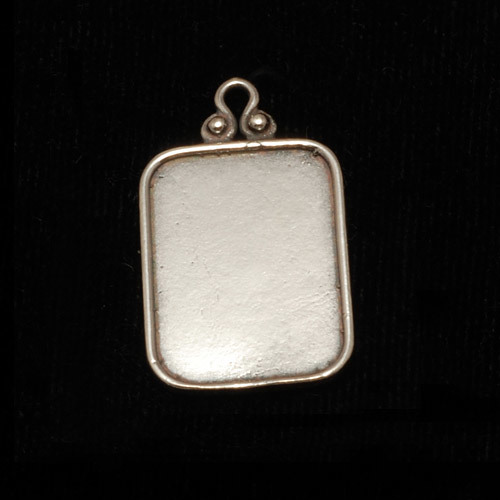 Metal Stamping Blanks Sterling Silver Rectangle Pendant w/Raised Edge (OXIDIZED)