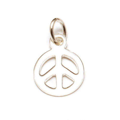 Charms & Solderable Accents Sterling Silver Tiny Peace Charm with Jump Ring