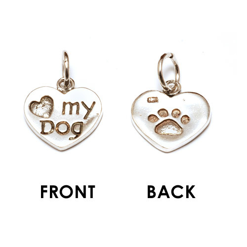 "Charms & Solderable Accents Sterling Silver ""Love My Dog"" Charm with Paw Print"