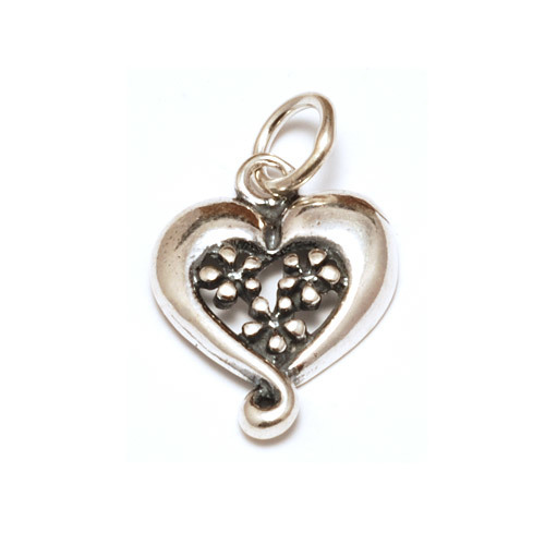 Charms & Solderable Accents Sterling Silver Heart Charm with 3 Daisies