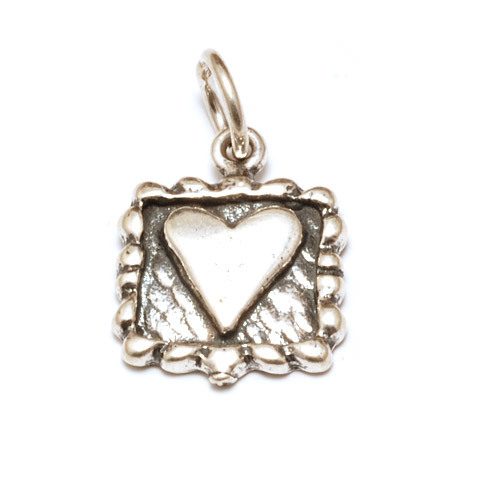Charms & Solderable Accents Sterling Silver Framed Square Heart Charm